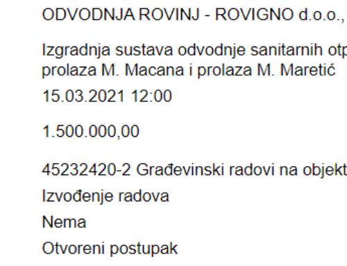 Objavljenja javna nabava za izgradnju sustava odvodnje sanitarnih otpadnih voda ulice V. Š. Paje, M. Macana i M. Maretić